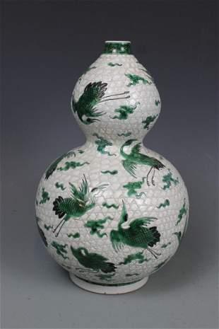A Green-Glazed Double-Gourd Vase, Mark Wanli