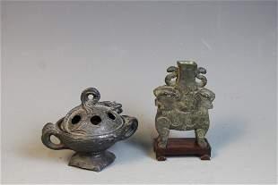 A Bronze Censer and Bronze Vase