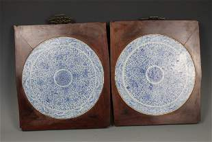 A Pair of Blue and White Porcelain Plaques, Mid Qing