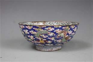A Cloisonne Enamel 'Dragon' Bowl, Qing Dynasty