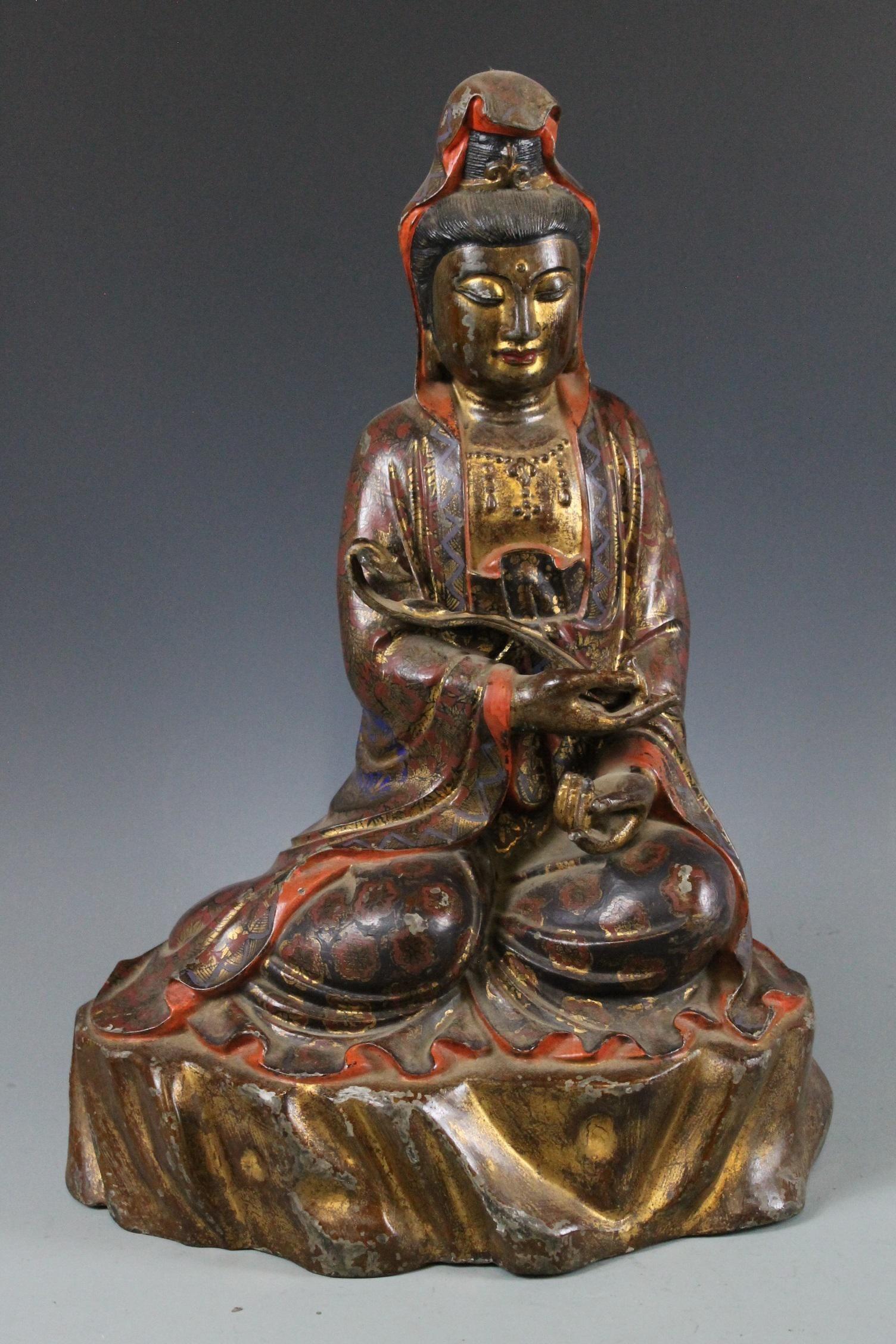 A Gilt-Bronze Figure of Guanyin