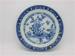 A Blue and White 'Floral' Dish, Qing Dynasty