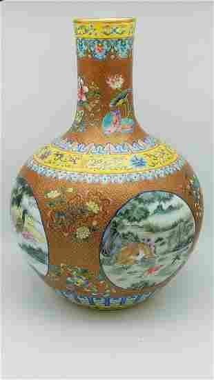 A Gilt Famille-Rose Bottle Vase, Mark Qianlong
