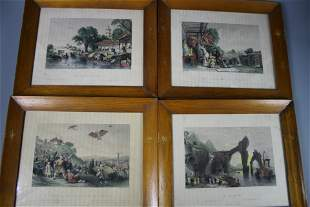 A Group of Four Framed Engravings, Qing Dynasty
