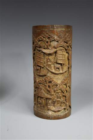 A Carved Bamboo Brushpot, Qing Dynasty