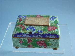 A Cloisonne Enamel Jade-Inlaid Box, Qing Dynasty
