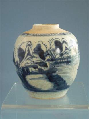A Small Blue and White Jar, Qing Dynasty