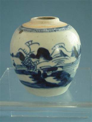 A Blue and White 'Landscape' Jar, Qing Dynasty