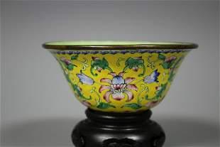 A Yellow-Ground Cloisonne Enamel Bowl, Qing Dynasty