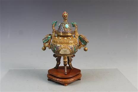 A Jade Inlaid Silver Filigree Incense Burner, Republic