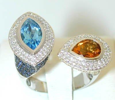 12121: 5207 14KW Gold Ring w/Blue Topaz/Citrine/Sapphir