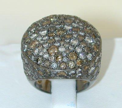12585: 1405 18K Gold Ring w/ MultiColor Diamonds
