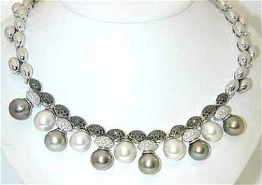 13358: 2422 18KW Gold Necklace w/Pearl/Black/White Diam