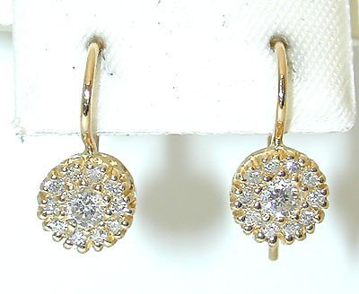 1008: 1008 14K Gold Earrings w/ Diamonds