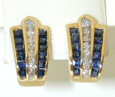 1020: 1020 14K Gold Earrings w/ Sapphire/ Diamonds