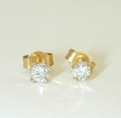 1038: 1038 14K Gold Post Earrings w/ Diamonds