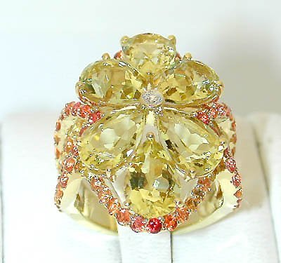 13055: 3401 EFJ 18K Gold Mulitcolor Gemstones Ring w/Di