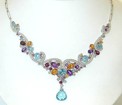 13088: 3071 EFJ 14KW Gold Multicolor Gemstones Necklace