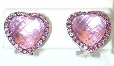 13186: 5232 EFJ 14K Gold Pink Topaz Earrings w/Sapphire