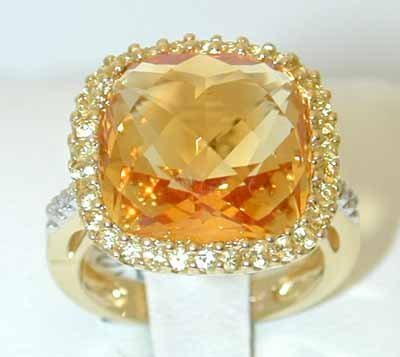 13455: 3891 EFJ 18K Gold Citrine Ring w/Diamond/Sappire