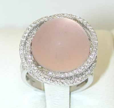 13577: 1747 EFJ 14K White Gold Pink Quartz Ring w/Diamo