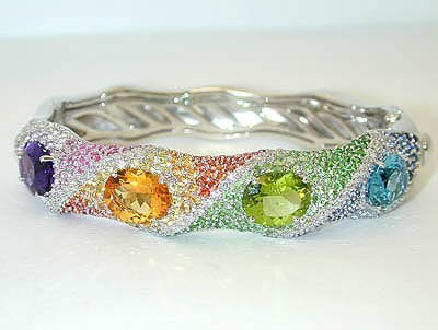 13590: 3141 EFJ 18KW Gold Multicolor Gemstones Bangle w
