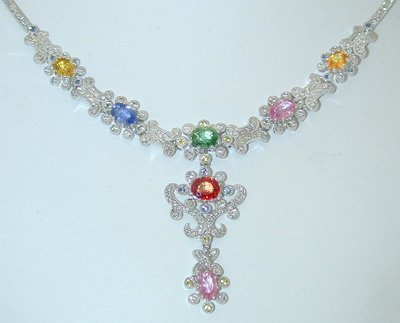 13790: 3628 EFJ 18K White Gold Diamond Necklace w/Multi