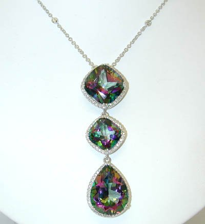 13846: 1810 EFJ 18KW Gold Necklace w/Dia/Mystic Topaz