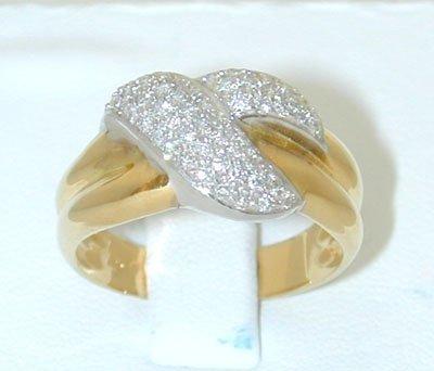 12293A: 5731 18K 2 Tone Gold Ring w/ Diamonds