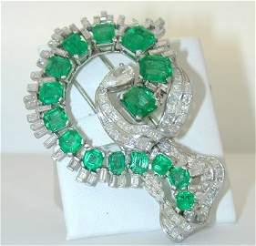 29642: 2918 Platinum Emerald/Diamond Pin