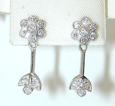 1002 14KW Gold Post Earrings w/ Cubic Zirconia