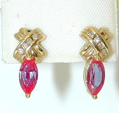 1014 14K Gold Post Earrings w/Gemstones/Diamonds