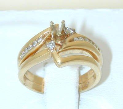 1017 14K Gold Engagement Ring Set w/ Diamonds