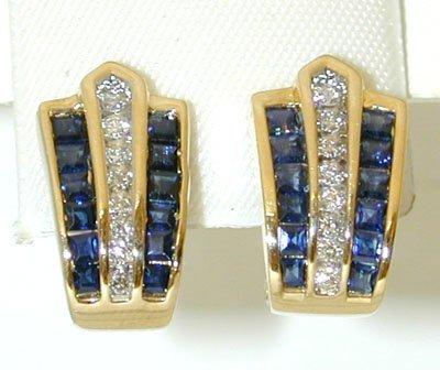 1020 14K Gold Earrings w/ Sapphire/ Diamonds