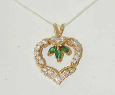 1030 14K Gold Pendant w/ Emerald/ Diamonds