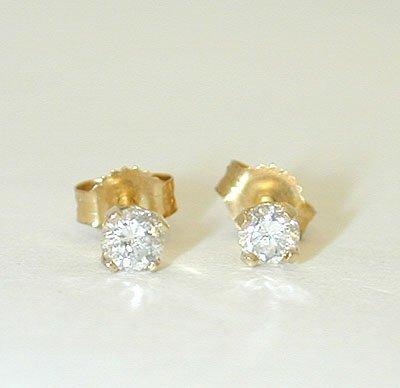 1038 14K Gold Post Earrings w/ Diamonds