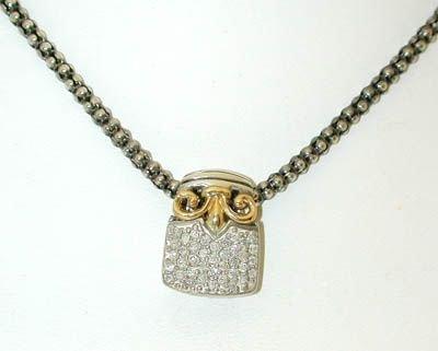 1040 Silver/ 14K Gold Necklace w/ Diamonds