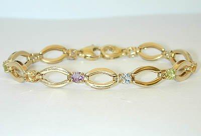 1042 14K Gold Bracelet w/ MultiColor Gemstones