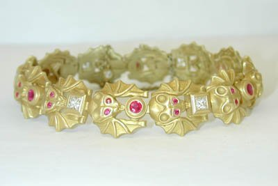 3324 B. KIESELSTEIN CORD 18K Gold Bracelet w/Ruby/Diamo