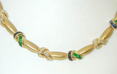 3604 KRYPELL 18K Gold Necklace w/Emerald/Sapphire/Diamo