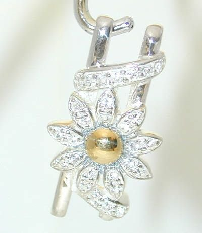 1342 Silver/ 18K Gold Pendant w/ Cubic Zirconia