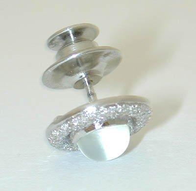 1206 18K White Gold Tie Tack w/ Moon Stone - 2