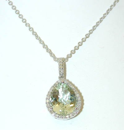 1 14KW Gold Necklace w/Green Quartz/Diamonds Pendant
