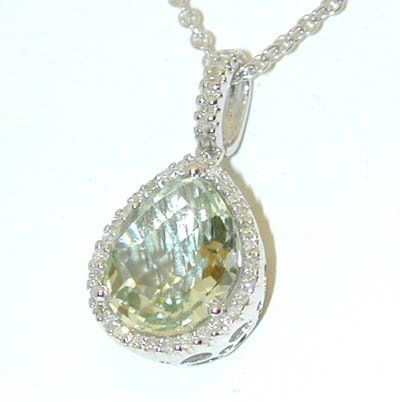 1 14KW Gold Necklace w/Green Quartz/Diamonds Pendant - 3