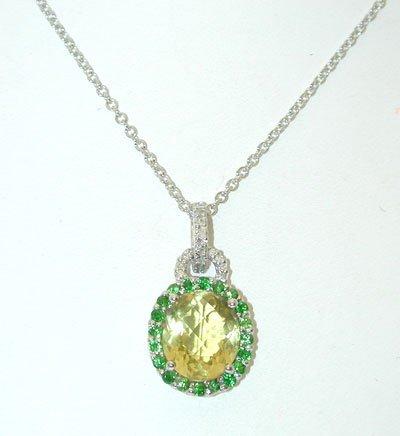 1 14KW Gold Necklace w/Lemon Quartz/Diamonds Pendant