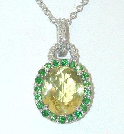 1 14KW Gold Necklace w/Lemon Quartz/Diamonds Pendant - 2