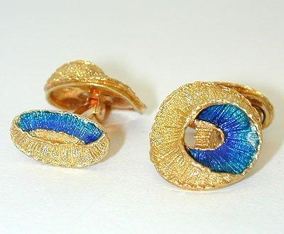 11964 18K Gold/ Enamel Cufflinks - 2