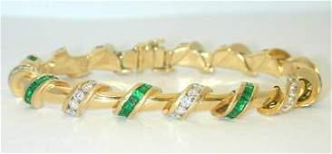 7A KRYPELL 18K Gold Bracelet w/Diamond/Emerald