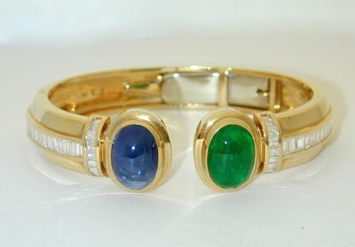 1318 18K Gold Bangle w/ Emerald/ Sapphire/ Diamonds