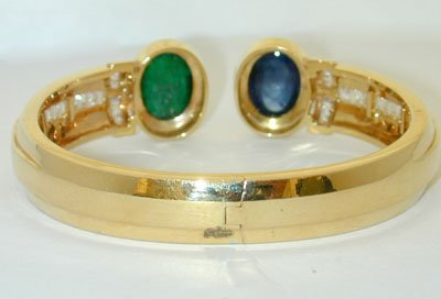 1318 18K Gold Bangle w/ Emerald/ Sapphire/ Diamonds - 2